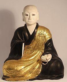 Japan Edo period 1820s Bunsei era Sculpture of a Temple Priest