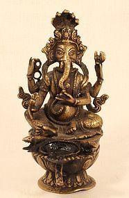 Nepalese Lost Wax Cast Hindu God Ganesha Oil Lamp v5