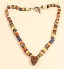 Pre Columbian Necklace Lapis Chrysocolla and Shell Janus head pendant