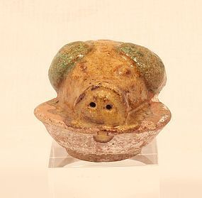 Chinese tomb Offering Food Model of a Boars Head on a Platter