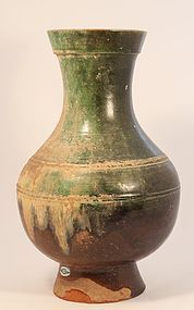 Chinese Han Dynasty Green and Amber Glazed Urn