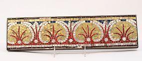Roman Gold and Silver Glass Mosaic Palmetto Design Border