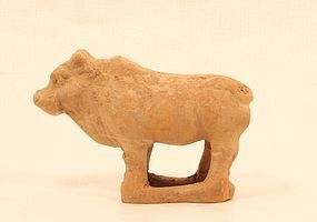 Tang Dynasty Red Pottery Tomb Model of an Ox