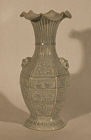 Yuan Style QingBai Glazed Molded vase with Ruffled top v6