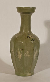 Korean Koryo style Inlaid Celadon Glazed Vase