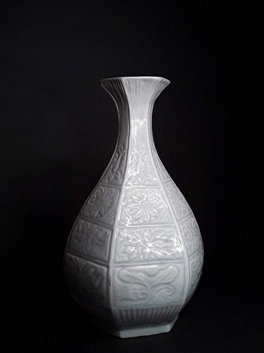 Song Style Qingbai glazed Molded vase with Floral designs v8