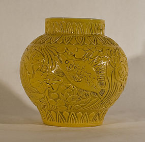 19-20thc Chinese Molded Egg yolk Glazed vase with Aquatic Designs