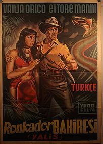 Vintage Turkish Lithograph poster of a Jungle Movie v9