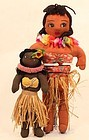Pair of Vintage Hawaiiana Cloth Hula Dolls C 1940s