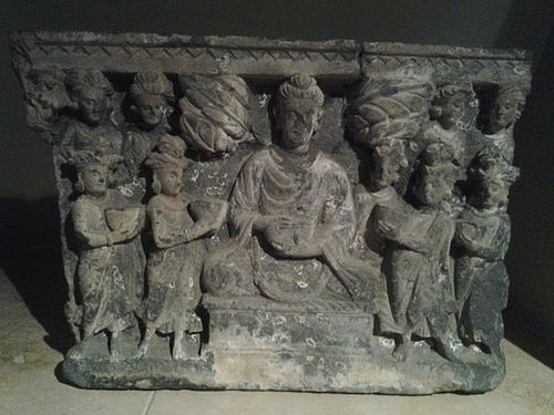 2nd-3rd C Gandharan Schist Buddhist Temple panel carving