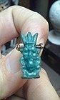 Ancient Egyptian Faience Amulet of Bes with 18K gold Bail