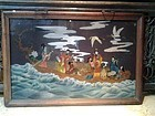 Qing Dynasty Reverse Glass painting of Imortals on a Boat