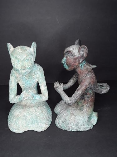 Pair of Han Dynasty Winged Doist Imortals in Bronze