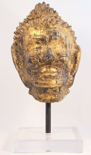 Thailand Mon Period Lacquered and gilded Stucco Buddhist Head v3