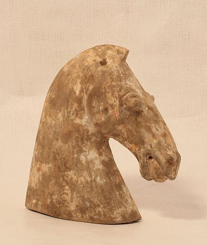 Han Dynasty molded  Horse head with white and red decoration