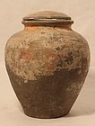 Early Chinese Grey Pottery Urn with Lid Han Dynasty