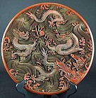 Large Chinese Dragon Lacquer Charger