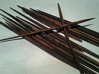 17 Pre Columbian Chimu wood spindle sticks for textile weaving