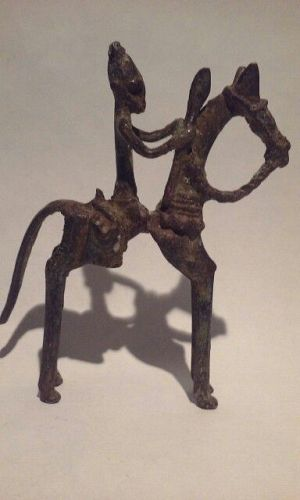 Early Dogon Bronze Horse and Rider with a Spear