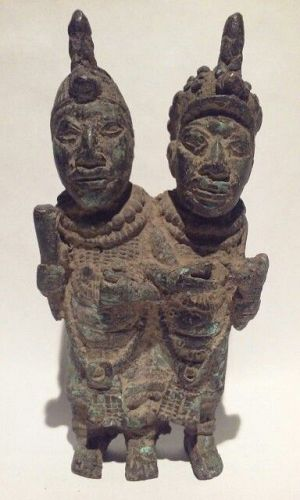 Antique Benin cast  Bronze Sculpture of a Royal Couple