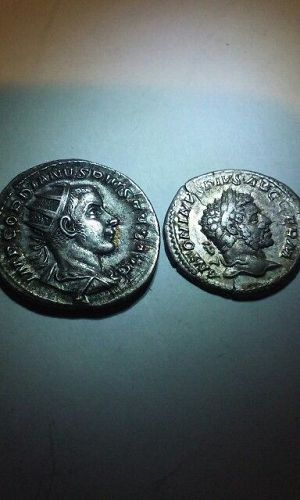2 Roman Silver Coins Caracalla and Grodion