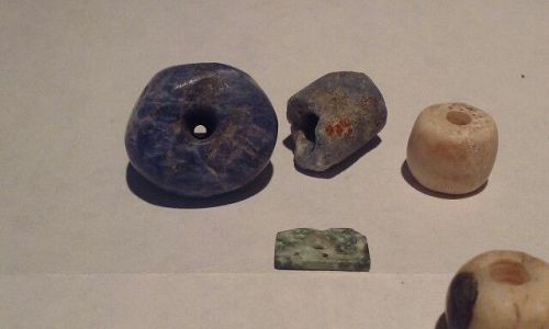 Pre Columbian Sodalite Stone and Chrysocolla bead group lot