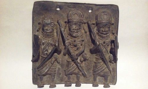 Benin Ife Cast Bronze Plaque of Oba with Warriors