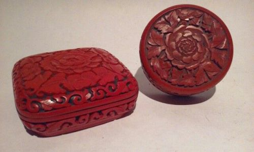 2 Chinese Cinnabar Covered Boxes