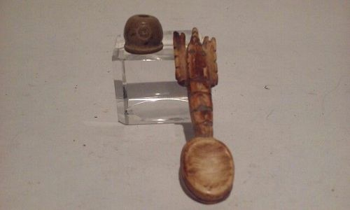Pre Columbian Peruvian Chavin Bone Crawfish shaped Spoon and Bead