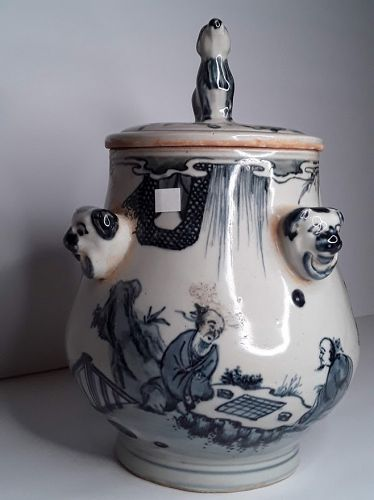 Chinese Blue and White Lidded Urn with Wind swept Scholars