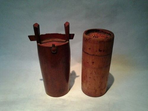 Edo Dynasty Japanese Bamboo Saki pot and Container
