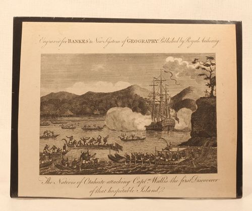 "Engraving ""The natives of Otaheite Attacking Capt Wallis"" C1780"