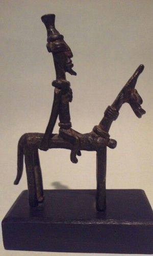 Antique African Dogon Bronze Horse and Rider