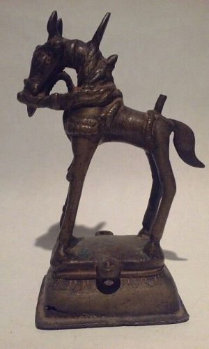 Antique Hindu Jain Bronze Figure of a Horse