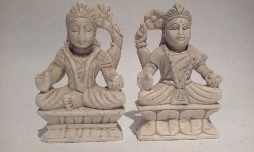 Pair of Vintage Hindu Alabaster Deity alter  Figures
