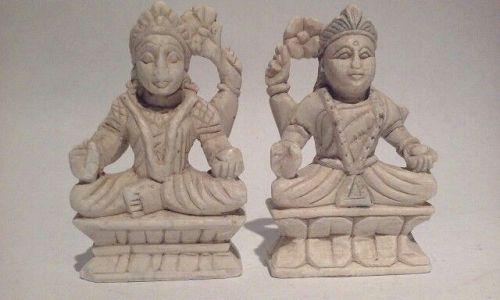 Pair of Vintage Hindu Alabaster Deity alter  Figures