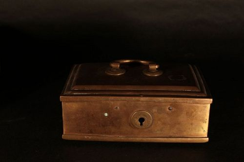 Antique British Colonial Betel nut Brass Box with compartment