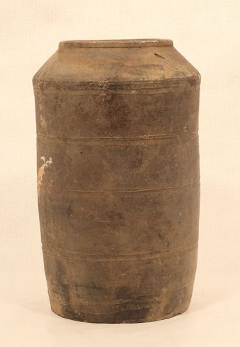 Han Dynasty Grey Pottery Granary Vessel