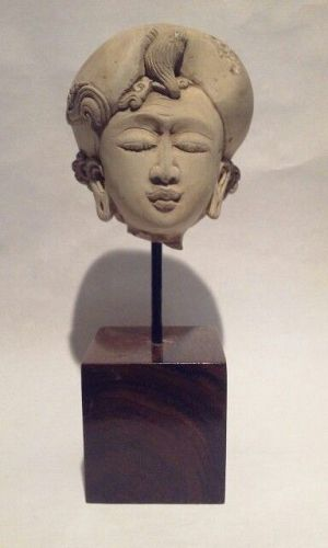 Majapahit Tuff Stone Carved Head of A Court Lady