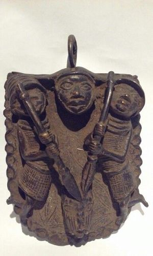 Ife Benin Bronze Hip Plaque with Warriors