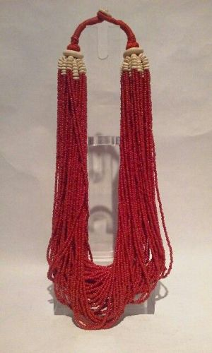 Vintage Coral and Bovine Bone bead Necklace