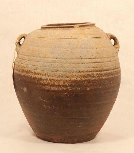 Han Dynasty Ash Glazed Proto Porcelain Handled Urn