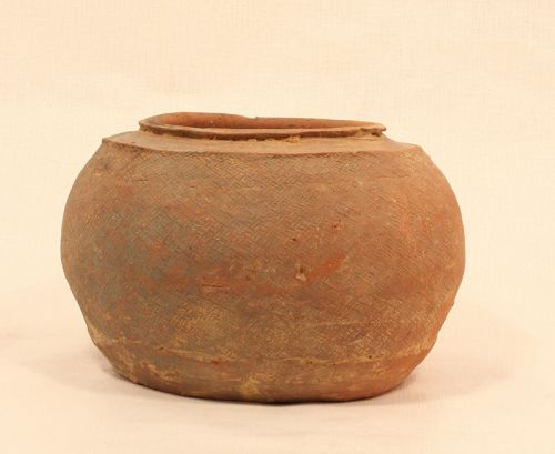 Early Chinese Zhou  Impressed Terracotta pot