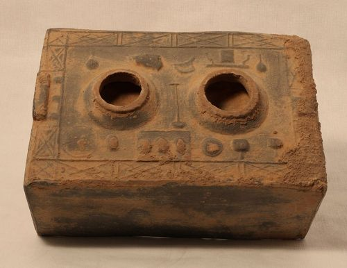 Primitive Han Dynasty Pottery Stove Model