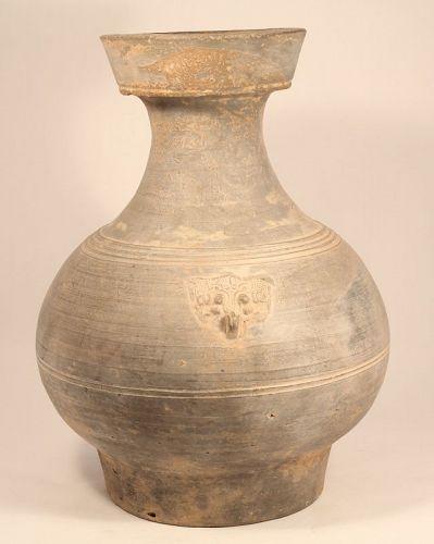 Han Dynasty Large Grey Terracotta Hu Vase