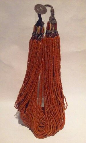 Tibetan Coral Seed Glass Torsade Necklace C1910