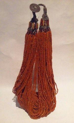 Tibetan Coral Seed Glass Torsade Necklace C1910