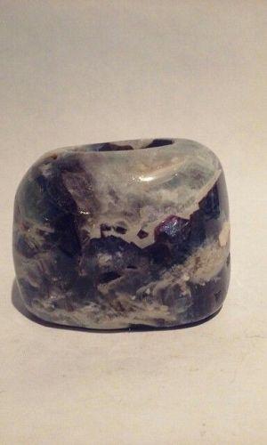 Fluorite stone candle votive