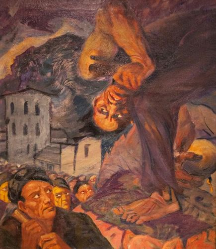 Muralist Painting of David Alfaro Siqueiros with the Miners 1940s