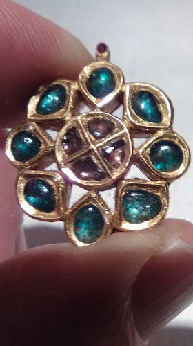 Mughal Kundan Polki Emerald and Diamond Gold Pendant